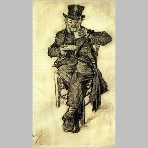 Orphan man with top hat, drinking coffee, Vincent van Gogh