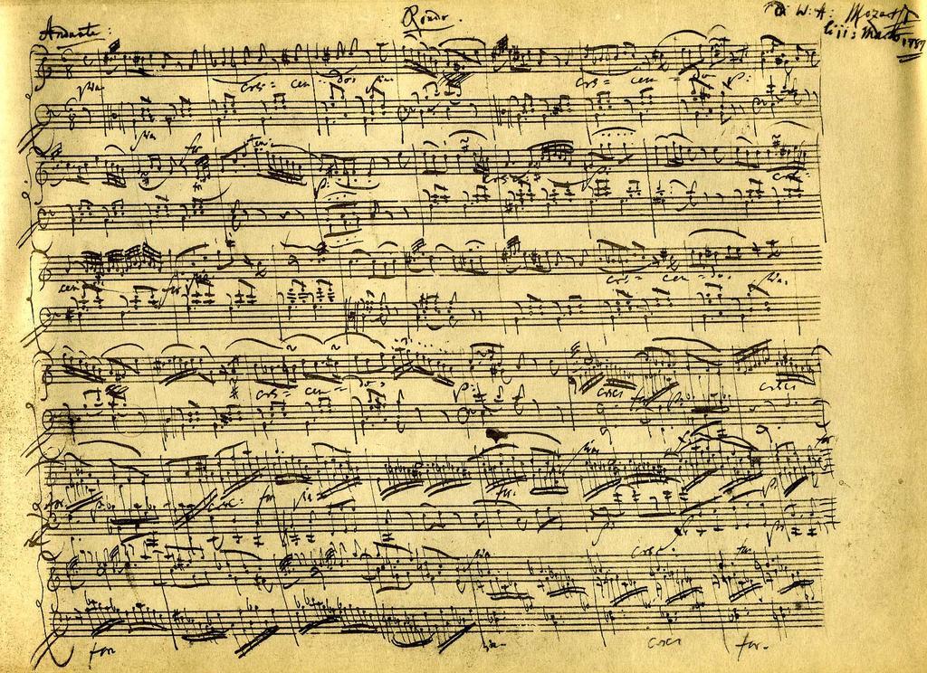 ноты рукописи Моцарта