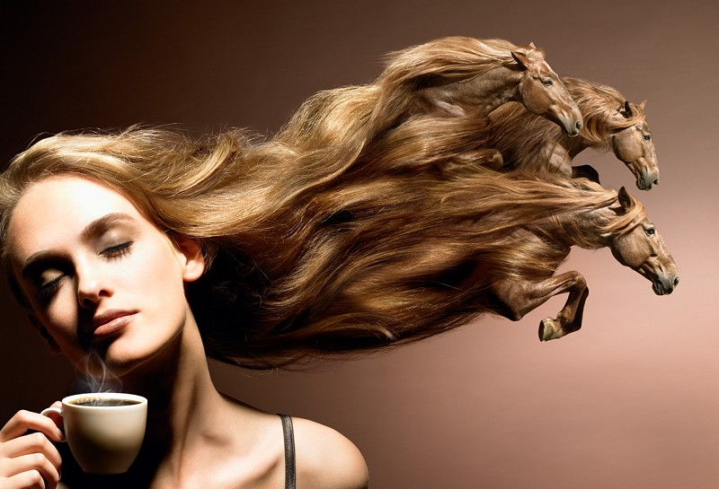 кофе, волосы и кони :)
