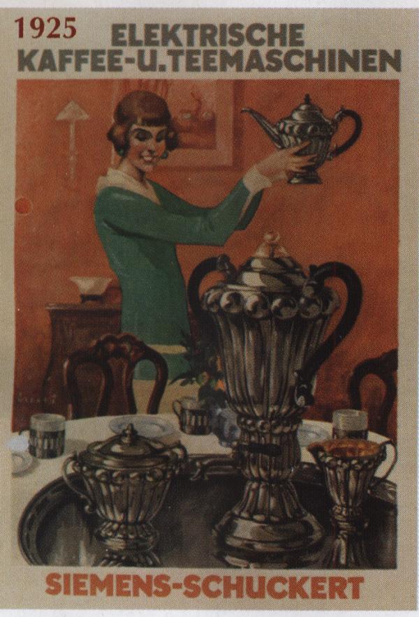 vintage poster siemens coffemashine elektrische kaffee-u.teemaschinen 1925, старый плакат Сименс - кофемашины
