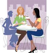 подружки в кофейне