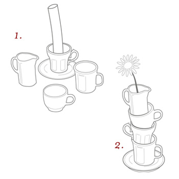 эскиз вазы из кофейных чашек / Японский дизайнер Ototo