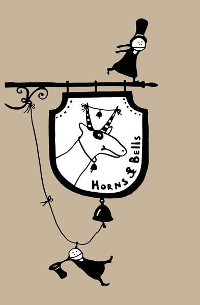 """вывеска кафе """"рога и бубенцы"""" \ иллюстрация к книге """"Трое из Блумсбери"""""""