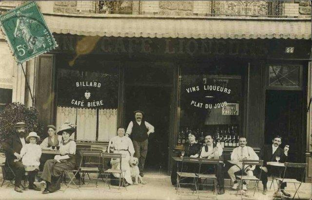 французское кафе / старинная открытка