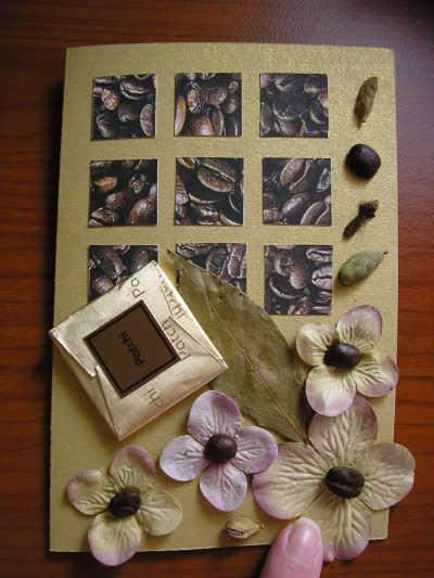 скрапбукинг, открытка ручной работы / кофе и цветы
