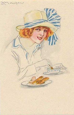 девушка в кафе / старинная открытка