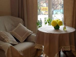 комплект из льна / кружевная скатерть, салфетки, подушки