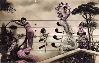 старинная открытка / девушки и ноты