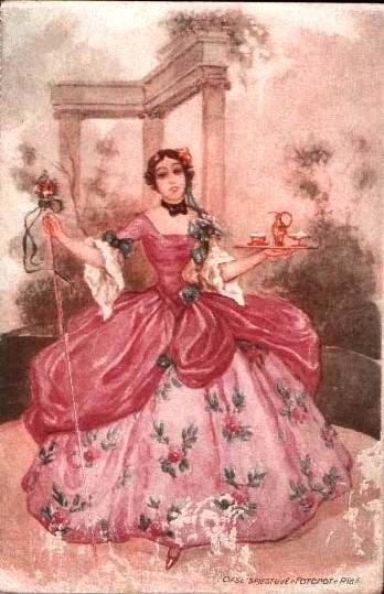 старинная открытка / девушка с подносом кофе
