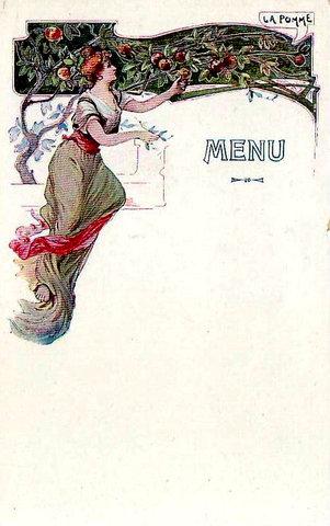 меню для кафе / старинная открытка