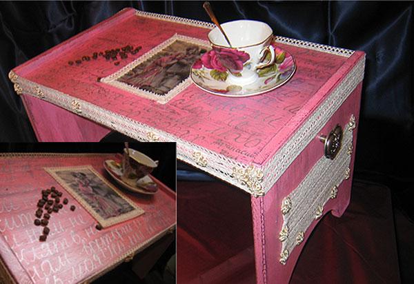 столик поднос для кофе в постель / стиль винтаж