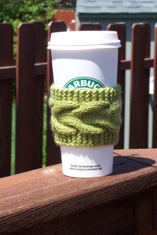 вязаный держатель для стаканчика кофе / knitting coffee