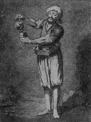 уличный продавец кофе / старинная гравюра (Турция, 18 век)