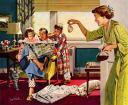 кофейная история в американской семье / винтаж постер