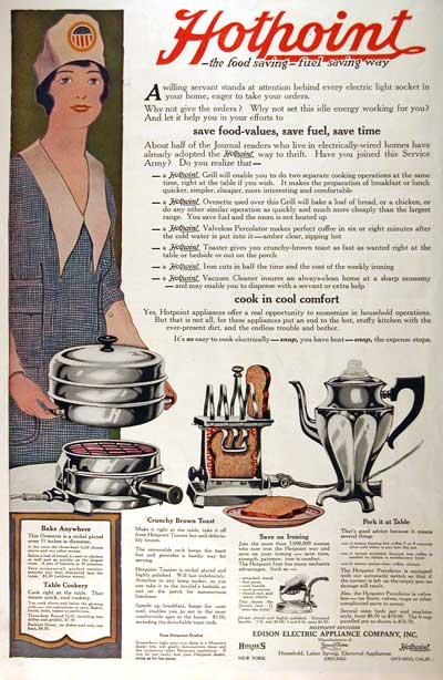 Реклама электрической кофеварки, вафельницы, тостера - винтаж постер 1918 год