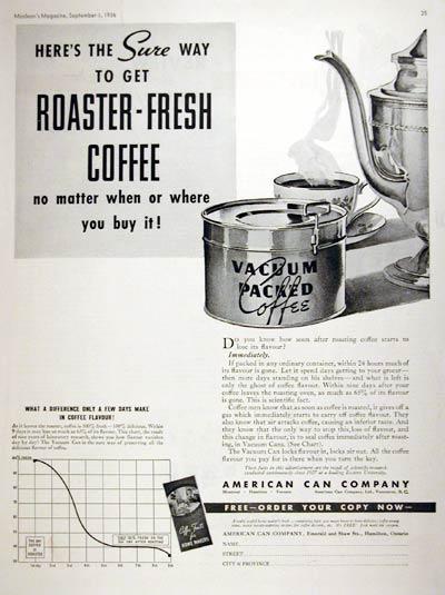 консервная банка с кофе - старый рекламный постер, 1936 год