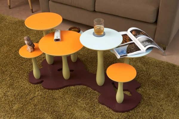 """необычный кофейный столик """"Грибная поляна"""""""