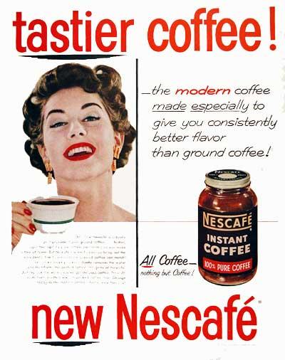 Nescafe Instant Coffee - рекламный постер растворимого кофе 1954 год