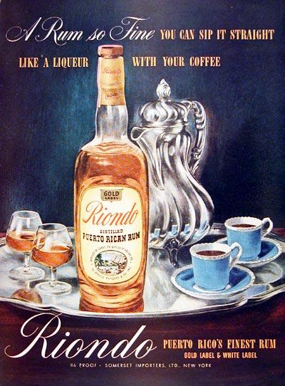 Ром Riondo Rum и кофе - старый рекламный плакат 1944 год