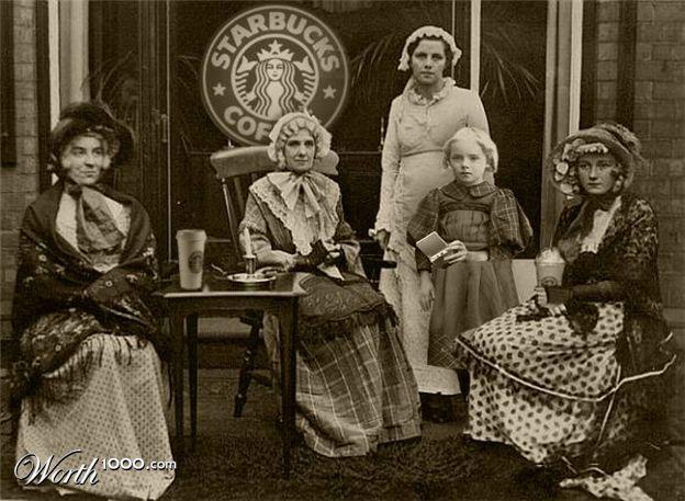 винтажное фото кофейни Starbucks
