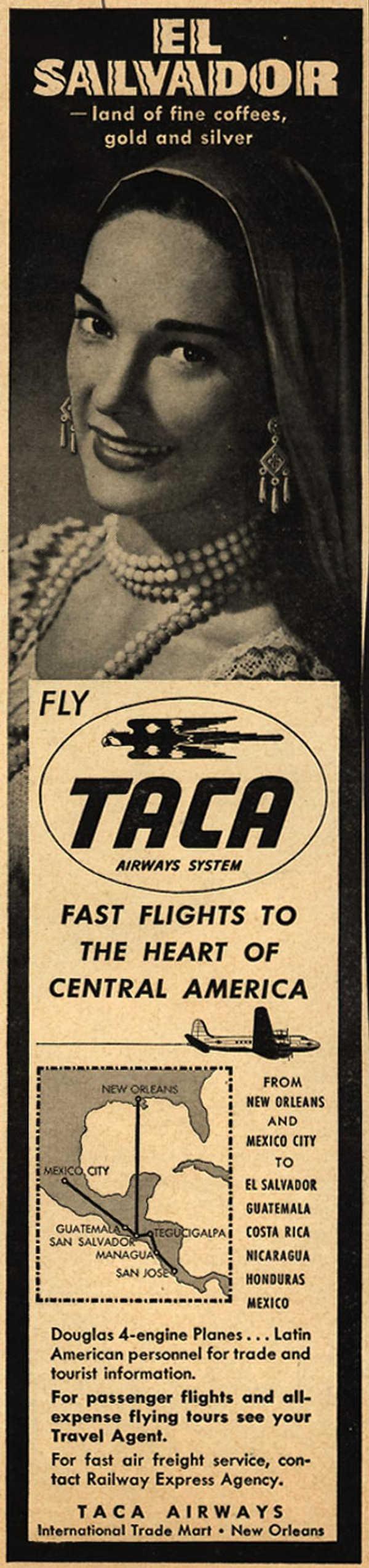 El Salvador coffee - old poster - старый рекламный плакат