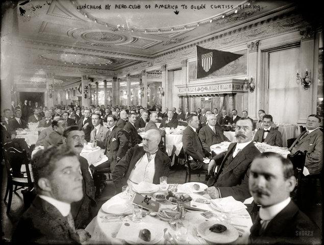 Ланч в аэро-клубе, Нью-Йорк, 1909 год
