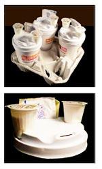 Новая упаковка для кофе - пластиковая крышка для стаканчика с местом для сахара и сливок