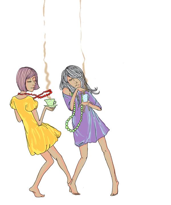 Девушки, танцующие с кофе