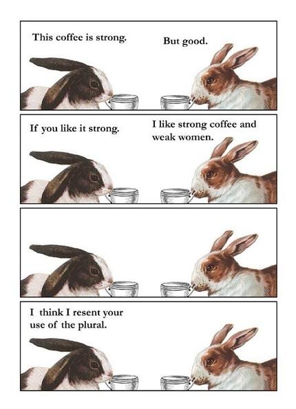 Кролики разговаривают о кофе