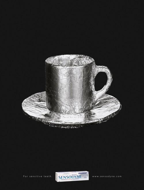 Постер зубной пасты Sensodyn против кофе