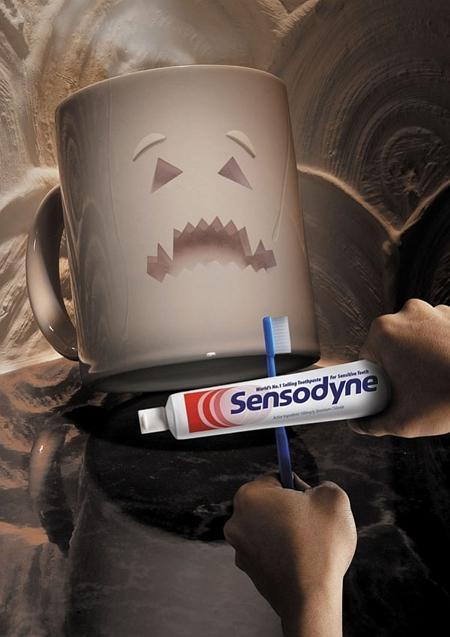 Постер рекламы зубной пасты против кариеса от кофе