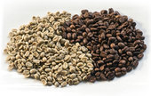 Зерна кофе сорта арабика и робуста в виде символа инь янь