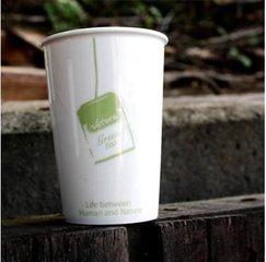 Чашка из экологической керамики в виде пластикового стаканчика