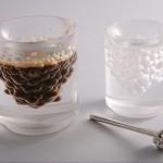 """Дизайнерский стеклянный бокал для кофе """"с пузырьками"""""""