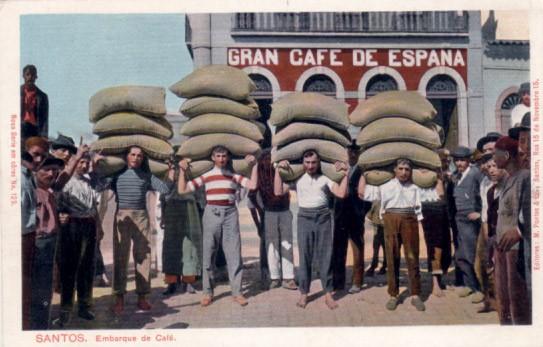 Кофейная компания в Бразилии - винтажная открытка 1905 год