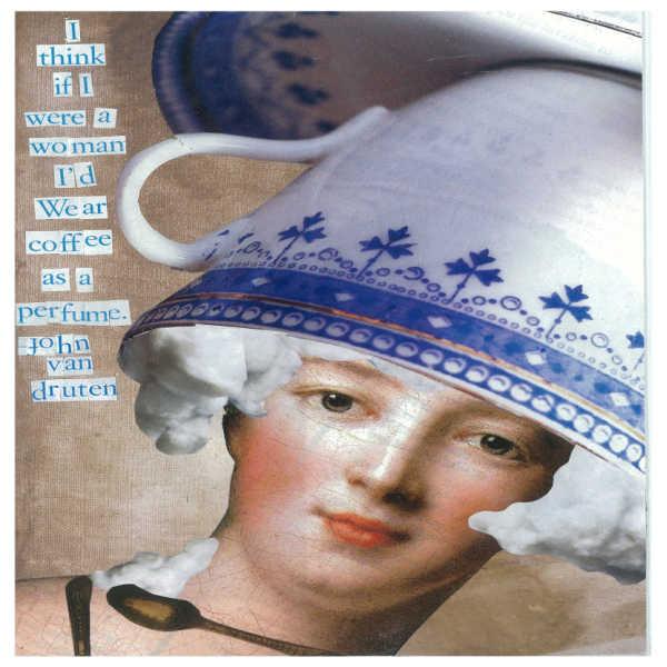 Коллаж на открытке с цитатой о кофе