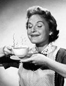 Винтажное фото с дымящимся ароматом над чашкой