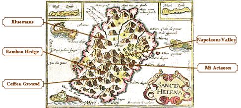 старинная карта острова Святой Елены