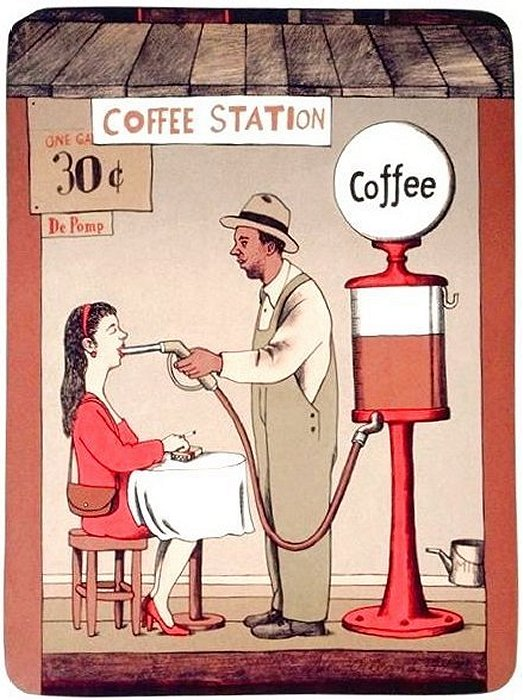Кофейная автозаправка - карикатура