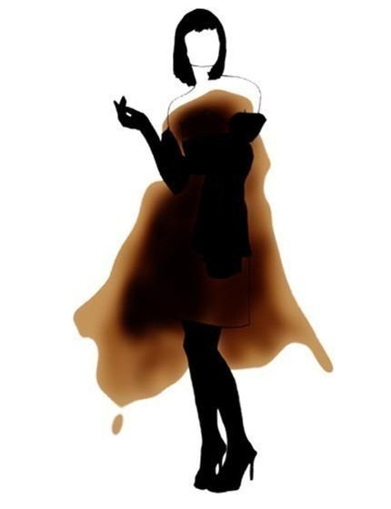 Модный эскиз на пятне от кофе