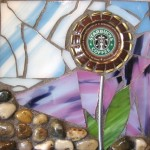 Цветок кофе на авторской мозаике