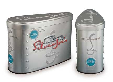 Банка из олова для марки кофе silver joe
