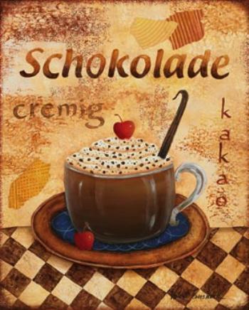 Горячий шоколад в меню кафе - старый постер