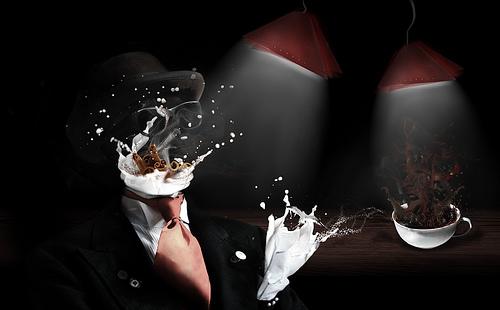 Кофейный сюрреализм - кофе, молоко, корица