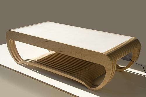 Сенсорный кофейный столик в выключенном состоянии