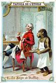 18 век, Франция, слуга-шимпанзе принес кофе