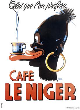 Старый плакат на тему кофе, винтаж Франция