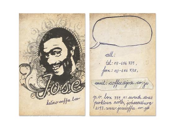 Бизнес-карточки для марки кофе Хосе